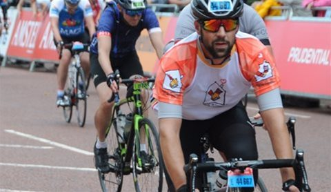 Michael Johnson takes part in Ride London 2017