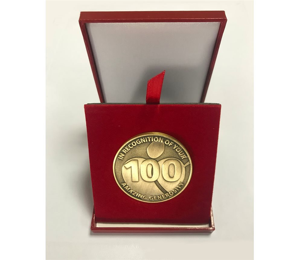 100 Blood Donations Medal